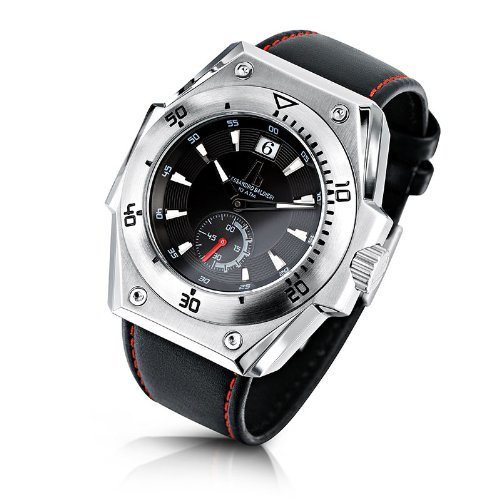Alessandro Baldieri Seamonster II Inox Red Analog Leder schwarz AB0071 RED
