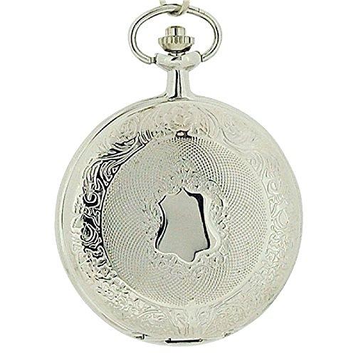Jakob Strauss silberfarbene Herrentaschenuhr mit 30 cm Kette JAST15
