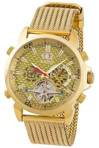 Aatos Vergoldet Herren Automatik Armband Uhr AigosGGG