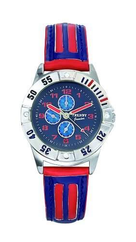 Trendy Kiddy Jungen-Armbanduhr Analog Leder blau KL164