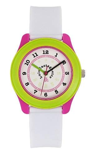 Lulu Castagnette-38700-Maedchen Armbanduhr Analog-Weisses Ziffernblatt-Armband Kunststoff weiss
