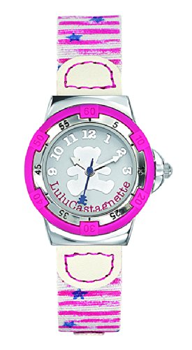 Lulu Castagnette 38735 Maedchen Armbanduhr Quarz analog weisses Zifferblatt Stoff Armband mehrfarbig