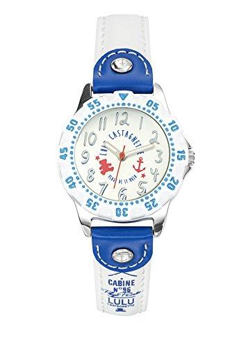 Lulu Castagnette 38767 Maedchen Armbanduhr Analog Zifferblatt Silber Armband Leder Mehrfarbig