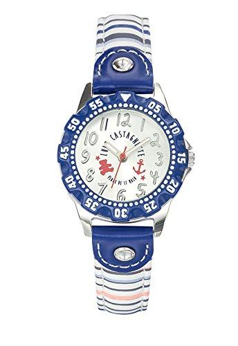 Lulu Castagnette 38766 Maedchen Armbanduhr Analog Zifferblatt Silber Armband Leder Mehrfarbig
