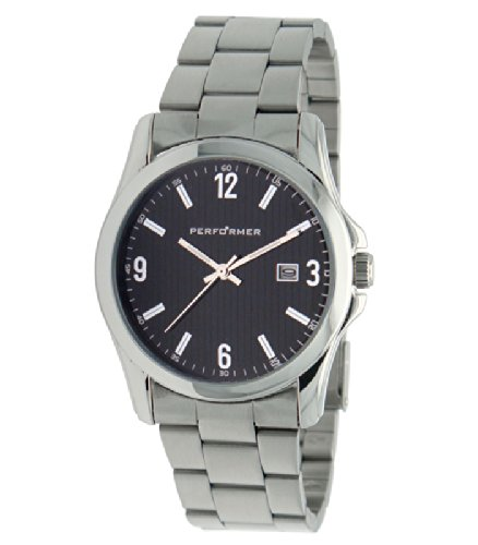 Performer 7035842 Armbanduhr Quarz Analog Zifferblatt schwarz Armband Metall silber