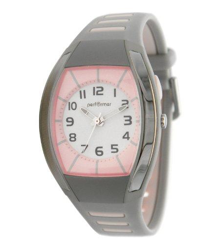 Performer 70612512 Maedchen Armbanduhr Analog Zifferblatt Rosa Armband Kunststoff grau