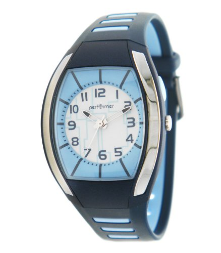 Performer 70612522 Armbanduhr Quarz Analog Zifferblatt Blau Armband Kunststoff blau