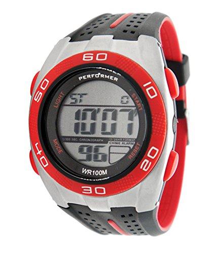 Performer 70612712 Zeigt Herren Quartz Digital Zifferblatt LCD Armband Polyurethan schwarz und rot
