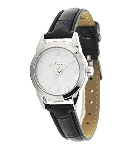 Performer 7077812 Damen Armbanduhr 045J699 Analog weiss Armband Polyurethan schwarz