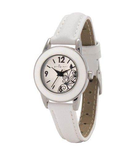 Performer 7078212 Damen Armbanduhr Quarz Analog Weisses Ziffernblatt Armband Leder Weiss