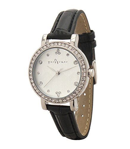 Performer 7078612 Damen Armbanduhr 045J699 Analog weiss Armband Polyurethan schwarz