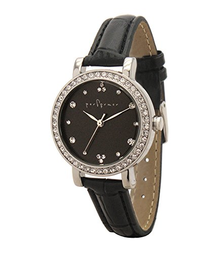 Performer 7078622 Damen Armbanduhr Quarz Analog Zifferblatt schwarz Armband Polyurethan schwarz