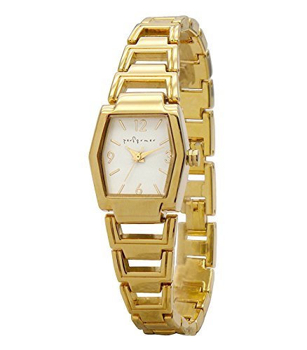 Performer 70820722 Damen Armbanduhr 045J699 Analog weiss Armband Stahl Gold