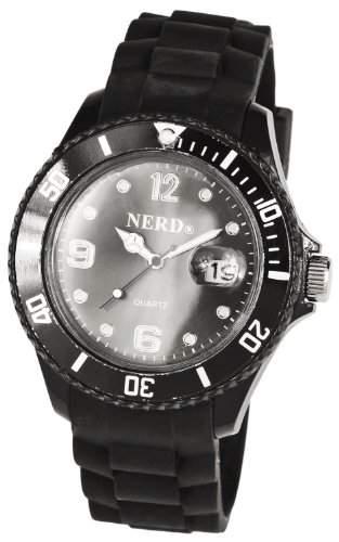Super NERD Herren  Damen Uhr Quartz schwarz