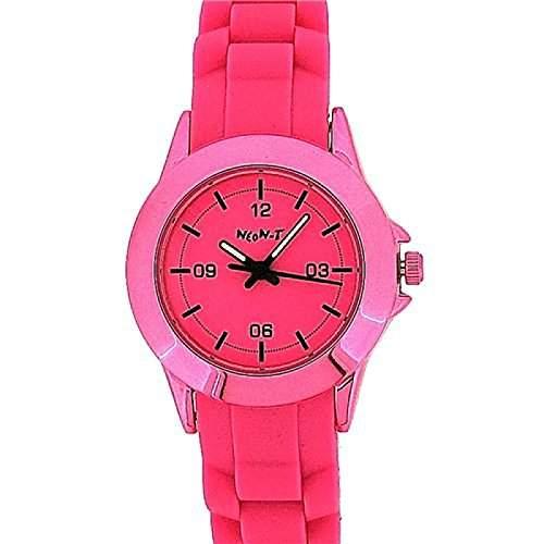 NEON-T Analoge Unisex Sport-Armbanduhr komplett pink mit Silikon-Armband NE049