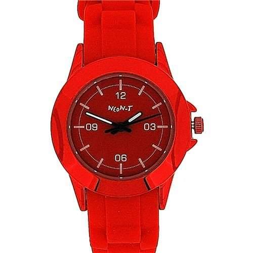 NEON-T Analoge Unisex Sport-Armbanduhr komplett rot mit Silikon-Armband NE049