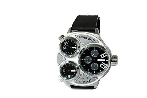Kautschuk Tritimer Uhr Armbanduhr SCHWARZ SILBER T37