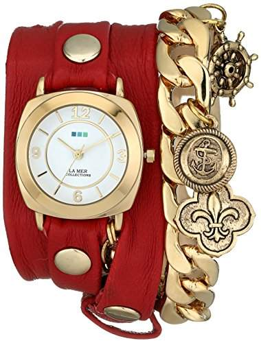 La Mer Collections Damen LMCW2004 Red Nautical Charms Wrap Armbanduhr