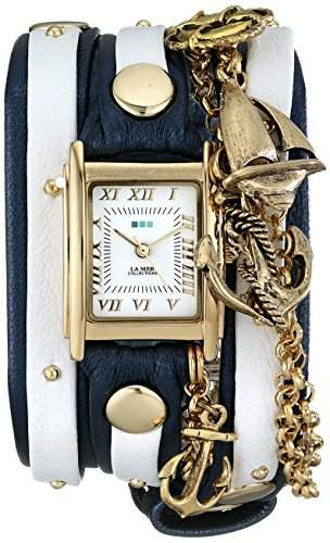 La Mer Collections Damen LMCW7004 Portofino Gold Charm Chain Wrap Armbanduhr