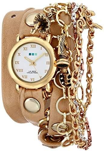 La Mer Collections Damen LMCW9003 Palm Springs Charm Chain Wrap Armbanduhr