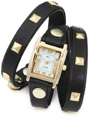 La Mer Collections Damen LMLW1010A Black Gold Pyramid Stud Wrap Armbanduhr