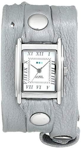La Mer Collections Damen LMMTW1003 Lite Gray Shimmer Silver Triple Wrap Armbanduhr