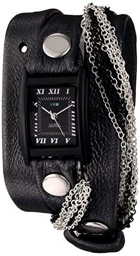 La Mer Collections Damen LMMULTICW1019-GNM Gunmetal - Carbon Chain GunmetalBlack Armbanduhr