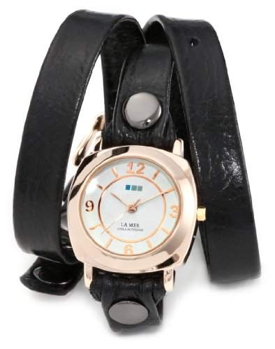 La Mer Collections Damen LMODY004 Black Rose Gold Odyssey Wrap Armbanduhr