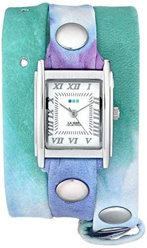 La Mer Collections Damen LMSTW3001 Malibu Tie Dye Green Silver Wrap Armbanduhr