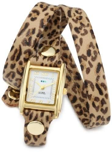 La Mer Collections Damen LMSTW6002 Leopard Gold Triple Wrap Armbanduhr