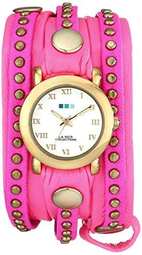 La Mer Collections Damen LMSW4000 Layered and Studded Neon Pink and Gold Bali Wrap Armbanduhr
