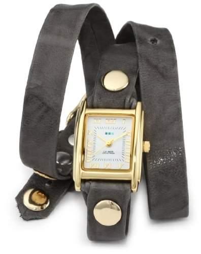 La Mer Collections Damen LMWTW1033 Gray Washed Gold Triple Wrap Armbanduhr