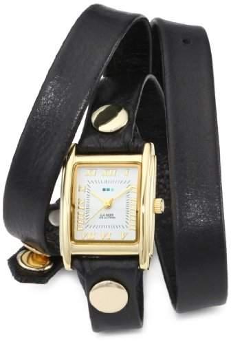 La Mer Collections Damen LMWTW1035 Black Washed Gold Triple Wrap Armbanduhr