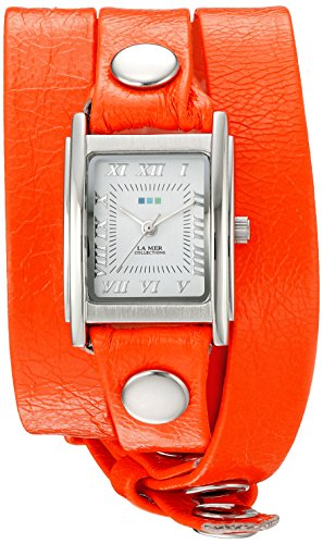La Mer Collections Damen LA MER Kollektionen Damen Neon Orange Silber Triple Wrap Leder orange Armbanduhr Quarz Casual Armbanduhr Modell lmstwgma14014
