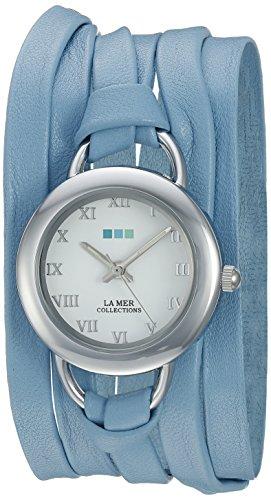 La Mer Kollektionen Damen lmsaturn1508 Wedgewood 2012 Edelstahl Uhr mit Blau Leder Wrap Band