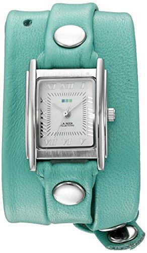La Mer Kollektionen Damen LA MER Kollektionen Damen Mint Silber Triple Wrap Armbanduhr Quarz silberfarbene Leder Casual Armbanduhr Modell lmstwgma14005