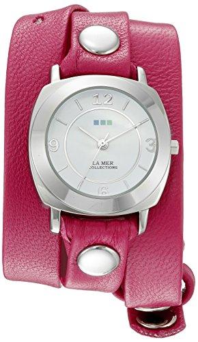 La Mer Kollektionen Damen LA MER Kollektionen Damen Tulip Pink Silber Odyssey Wrap Armbanduhr Quarz Rosa Leder Casual Armbanduhr Modell lmody3002