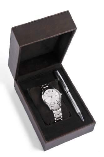 Cross Geschenk-Set MenHerren-Armbanduhr 17251562 Analog-Anzeige und Silber-Edelstahl-Armband CR1007
