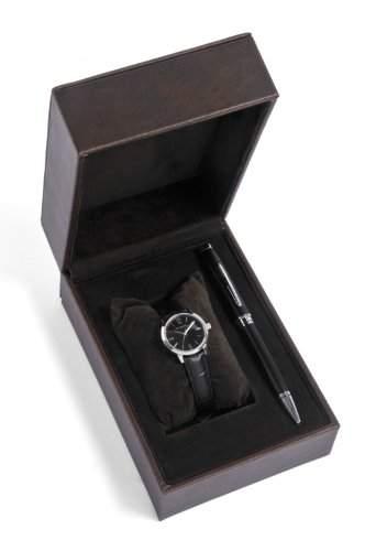 Cross Geschenk-Set WomenHerren Quarzuhr mit schwarzem Zifferblatt Analog-Anzeige und schwarzem Lederarmband CR4001