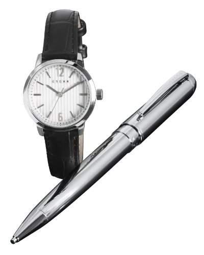 Cross Geschenk-Set WomenHerren-Armbanduhr 17251562 Analog-Anzeige und schwarzem Lederarmband CR4002