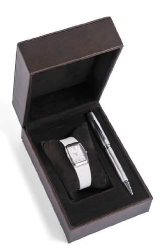 Cross Geschenk-Set WomenQuarz-Uhr mit weissem Zifferblatt Analog-Anzeige und weisse Lederband CR4008