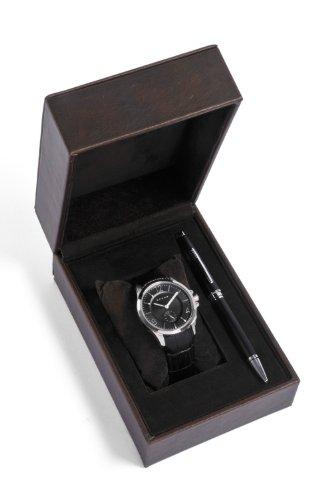 Cross Geschenk Set MenHerren Quarzuhr mit schwarzem Zifferblatt Analog Anzeige und schwarzem Lederarmband CR1009