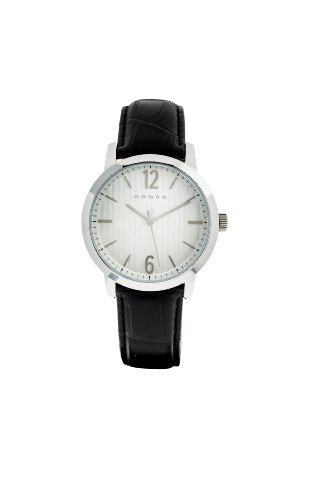 Cross Mens Watch Armbanduhr mit silberfarbenem Zifferblatt Analog Anzeige und schwarzem Lederarmband 9013 02 CR