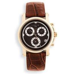 Mens Watch WCros Embd Brn Lthr Strap