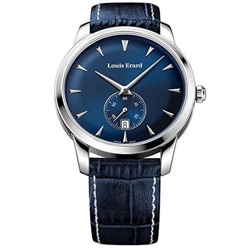 Louis Erard Herren Blau Leder Armband Edelstahl Gehaeuse Uhr 16930AA05BEP102