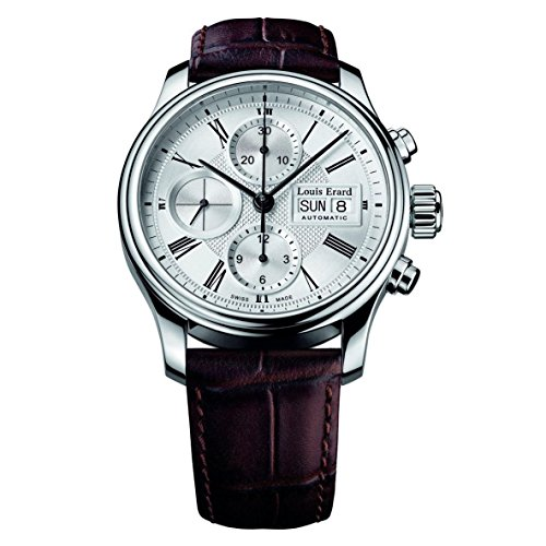 Louis Erard Herren 40 5mm Chronograph Braun Leder Armband Uhr 78259AA21 BDC21