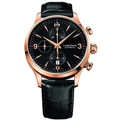 Louis Erard 1931 Herren Armbanduhr 40mm Armband Leder Schwarz Automatik Analog 78225PR12 BRC02