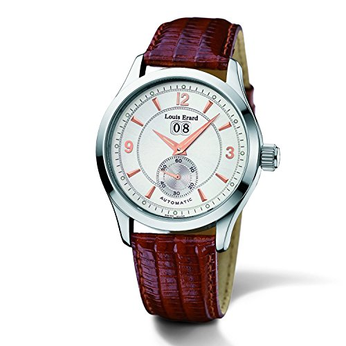 Louis Erard Herren Armbanduhr Armband Leder Braun Gehaeuse Edelstahl Automatik Analog 42202AA01 BDC02