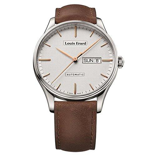 Louis Erard Heritage Herren Armbanduhr 41mm Armband Leder Gehaeuse Edelstahl Automatik 72288AA31 BVA01