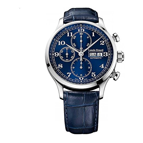 Louis Erard 1931 42 5mm Armband Leder Blau Gehaeuse Edelstahl Automatik 78225AA25 BDC37